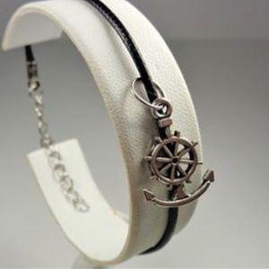 Jewelry - NAUTICAL SHIPS WHEEL ANCHOR BLACK LEATHER BRACELET